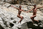 Nudists diving