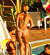 Beyonce in tiny bikini at the pool